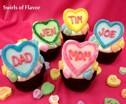 Personalized Conversation Heart Cupcakes Recipe