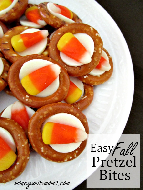 Easy Fall Pretzel Bites Need a quick treat for a Halloween party, or just a fun afterschool snack? These Super Easy Halloween Pretzel Bites take just minutes to make.