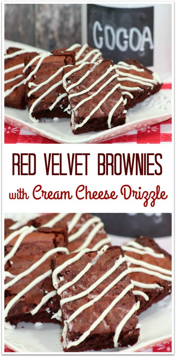 Red Velvet Brownies with Cream Cheese Drizzle