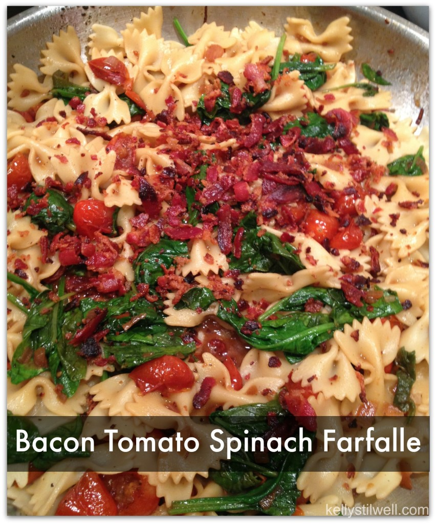 Bacon Spinach and Tomato Farfalle