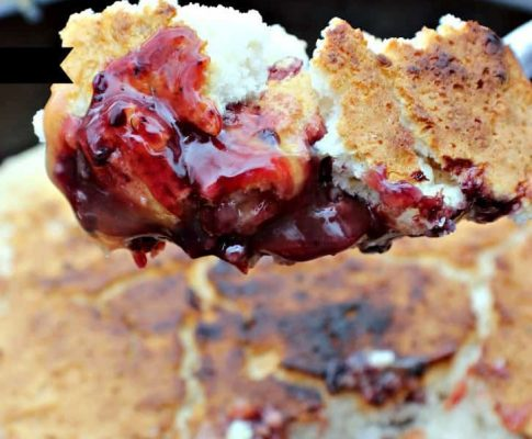3 Ingredient Blackberry Campfire Cobbler