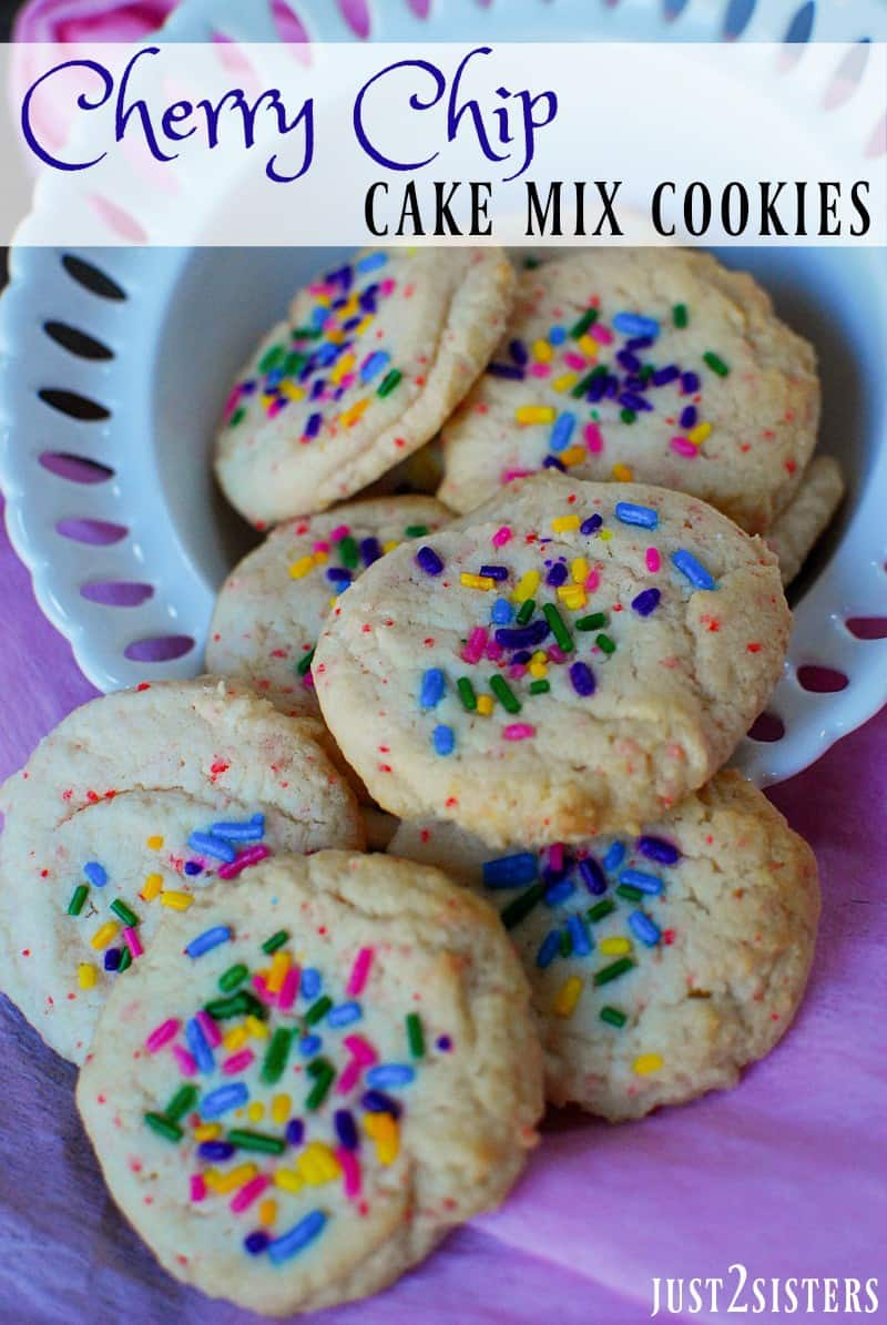 Cherry Chip Cake Mix Cookies If you love cake mix cookies, you will want to devour this spin on the traditional treat. These Cherry Chip Cake Mix Cookies are simply delicious and the colorful sprinkles on top make them a yummy and bright dessert.